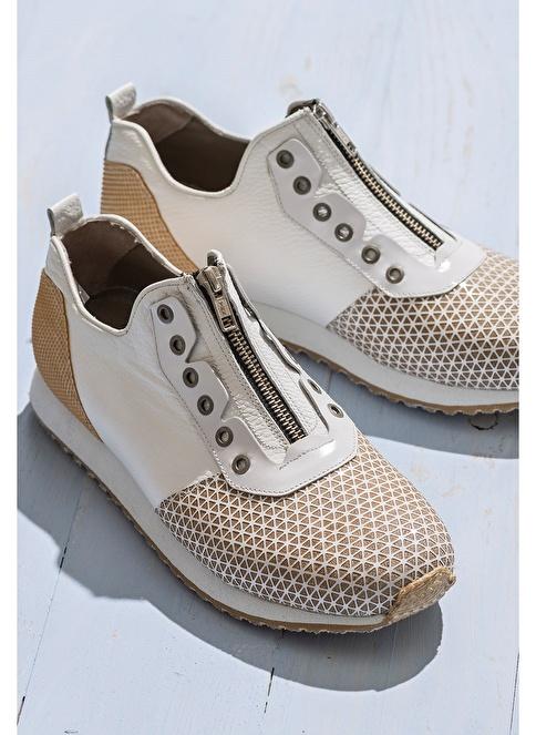 Elle Fermuarlı Deri Ayakkabı Beyaz